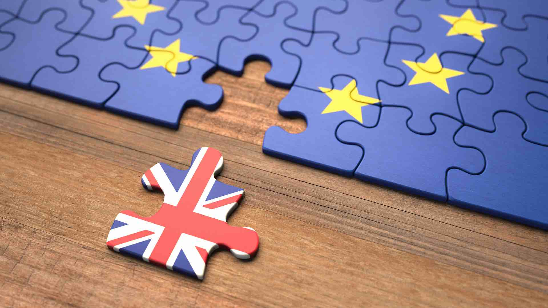 Image of Brexit jigsaw with UK piece removed